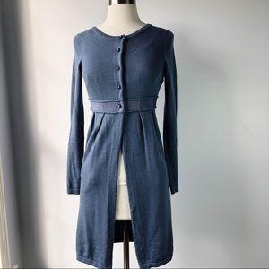 Boden Blue Silk Linen Lightweight Cardigan Duster